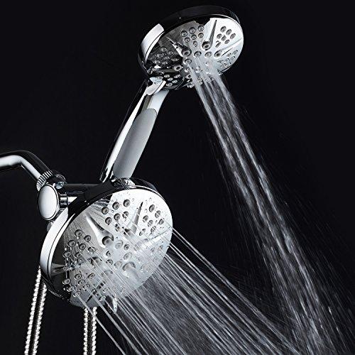 NOTILUS SURROUND-SHOWER(TM) High-Pressure 48-setting Luxury 3-way Rain Shower Head/Handheld Combo - Anti-Slip Grip, Anti-Clog Jets, Heavy-Duty Stainless Steel Hose, Chrome Finish, by HotelSpa (Image #4)