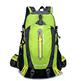 Hiking Backpack 40L Nylon Waterproof Outdoor Sports Day Package for Backpacking Hiking Camping Fishing Trip Cycling Skiing (Green)
