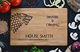 Personalized Cutting Board Dinner is coming Games of thrones House Stark Direwolf Engraved Custom Family chopping Wedding Gift Anniversary Housewarming Birthday Christmas