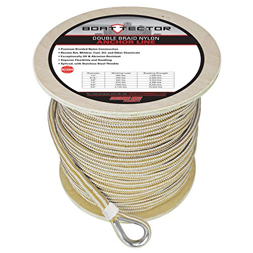 "Extreme Max 3006.2279 BoatTector Double Braid Nylon Anchor Line with Thimble - 5/8"" x 300"