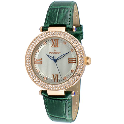 14k Ladies Watch - Peugeot Women's 'Luxury 14k Rose Gold Plated Green Leather Dress' Quartz Green Leather Dress Watch (Model: 3046GR)