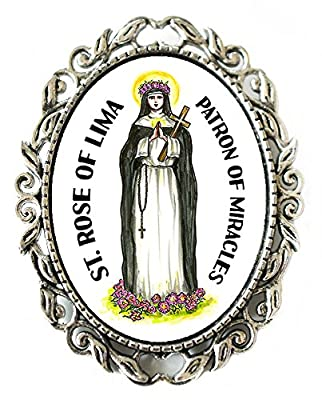 """St Rose of Lima Patron of Miracles Huge 2"""" Antique Silver Pin Brooche"""