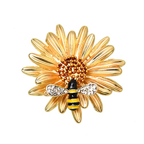 - Monrocco Yellow Daisy Flower Enamel Bee Brooch Pin Accessories for Her Women