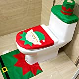 Teniu Toilet Seat Cover + Rug + Tank & Tissue Box Cover | Xmas Gift for Bathroom Christmas Decoration Set of 3