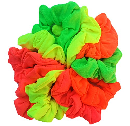 Cotton Scrunchie Set, Set of 10 Soft Cotton Scrunchies (Neon Colors)