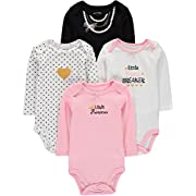 Wan-A-Beez 4 Pack Baby Girls' and Boys' Long Sleeve Bodysuits (0-3 Months, Necklace)