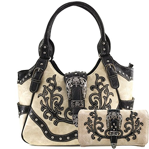 Justin West American Albino Floral Embroidery Buckle Shoulder Concealed Carry Handbag Purse (Beige Purse and Wallet Set) ()