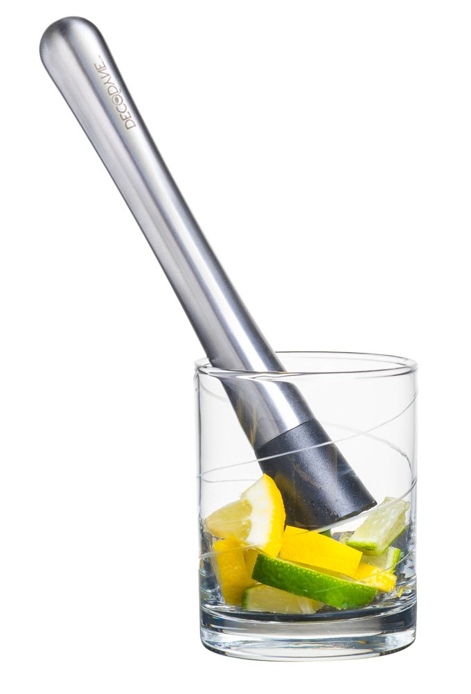 Cocktail Muddler - Stainless Steel - Grooved Nylon Head - Create Delicious Refreshing Cocktails by Decodyne. DZ-5250