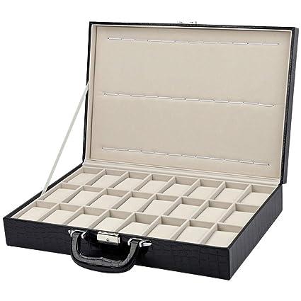 Cajas Relojes Hombre Caja de visualización del reloj de cuero de la PU del patrón de