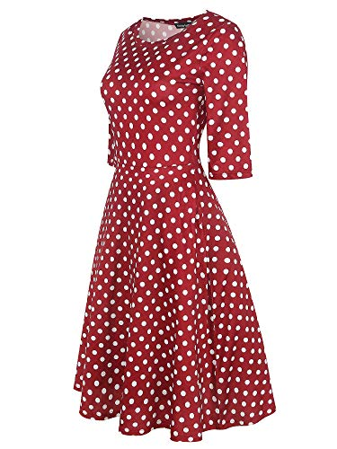 Dress Burgundy Summer Vintage Women's Pockets Line Party OX262 Blend Tunic Dot A Cocktail Cotton Neck Floral Round oxiuly Casual HZTq4q