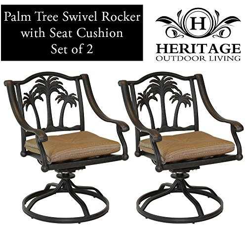 Heritage Outdoor Living Palm Tree Cast Aluminum Swivel Rocker - Set of 2 - Antique - Frontgate Swivel Rocker