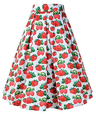 WSPLYSPJY Women Vintage Skater Skirts Midi High Waist Print Rockabilly Skirt