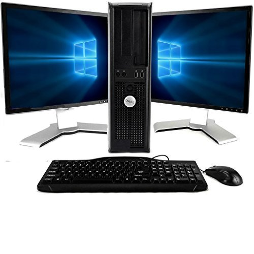 Dell OptiPlex, Super-fast Core 2 Duo Processor, 4GB Memory, 500GB hard drive, Two 19 monitors(Brands may vary), Windows 10, New Keyboard/Mouse-(Certified Refurbished)
