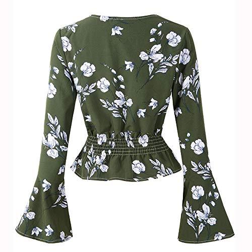 Femmes Cloche Chemisier Magiyard Manche Impression Longue Floral Vert Chemise Tops Manche dgwxCqXw