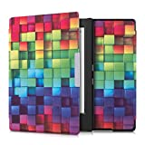 kwmobile Elegant synthetic leather case for the Kobo Aura H2O Design rainbow cubes in multicolor green blue