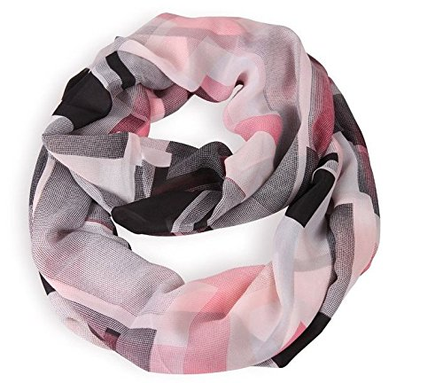 MissShorthair Women's Light Weight Colorful Painting Plaid Tartan Infinity Scarf(Pink and Black)