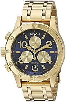 Nixon 38-20 Navy Dial Ladies Gold-tone Chronograph Watch