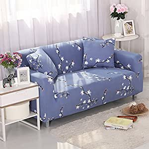 Amazon Com Yazi Blue Washable Elastic Sofa Cover Three