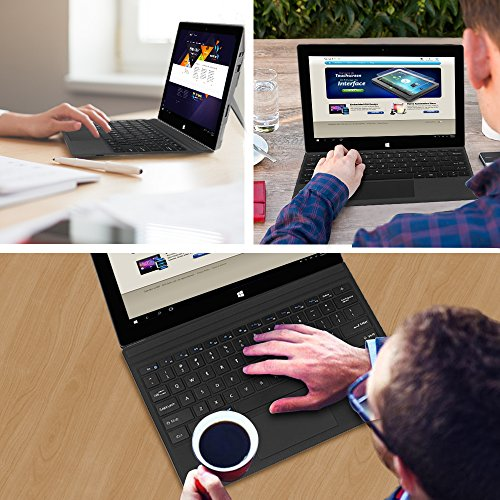 Fintie Microsoft Surface Pro 2017 / Pro 4 / Pro 3 Type Cover, Ultra-Slim Portable Wireless Bluetooth Keyboard with Two-Button Trackpad and Built-in Rechargeable Battery (Black) by Fintie (Image #6)