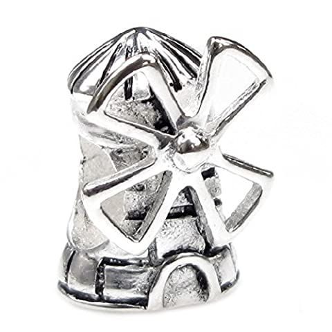 Queenberry Landmark Series Sterling Silver Dutch Windmill European-style Bead Charm - Live Love Laugh Bracciale