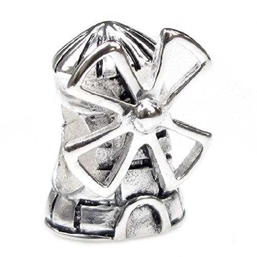 (Queenberry Sterling Silver Landmark Series Dutch Windmill European-style Bead Charm)