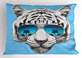 Ambesonne Animal Pillow Sham, Hand Drawn Portrait Tiger with Mirror Sunglasses Palm Trees Reflection, Decorative Standard Size Printed Pillowcase, 26 X 20 inches, Grey Sky Blue Dark Blue