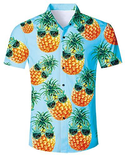 Big and Tall Mens Hawaiian Shirts 3D Print Funny Cool Graphic Sapphire Yellow Pineapple Ananas with Sun Glasses Vintage Luau Dress Shirt Beach Holiday Short Sleeve Button Down Tropical Shirts -