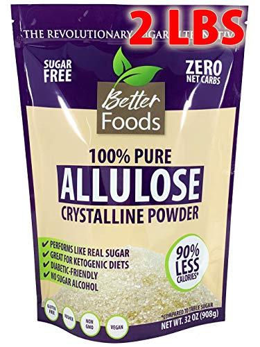 Allulose 32 oz 2 LBS Pure Crystalline Powder Non-GMO Sugar Free Low Calorie Zero Net Carb Keto Diabetic Friendly Natural Sugar Replacement Sweetener No Sugar Alcohol Soy Free Gluten Free