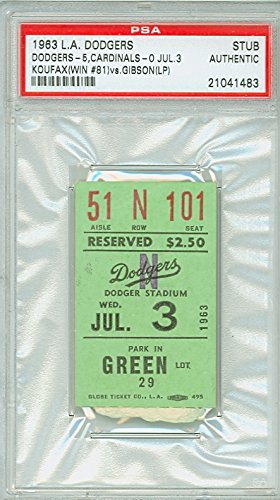 Louis Cardinals Tickets (1963 Los Angeles Dodgers Ticket Stub vs St. Louis Cardinals Sandy Koufax Win #81 - July 3, 1963 [Grades Excellent; rough tear line])