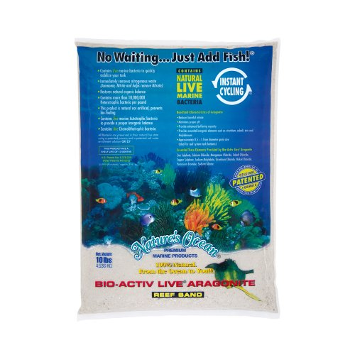 (Nature's Ocean No.0 Bio-Activ Live Aragonite Live Sand for Aquarium, 10-Pound, Natural White )