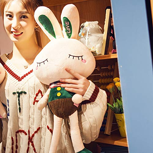 68cm Black tea dark green BAONZEN Longeared rabbit doll rabbit plush toy doll doll rabbit, black tea red, 68cm