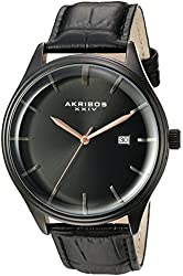 Akribos XXIV Men's Quartz Black Case with Black Sunray Dial and Rose Hands on Black Alligator Embossed Genuine Leather Strap Watch AK914BK