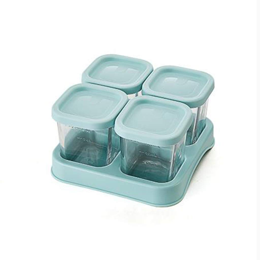 GAOYUTINGGM Glass Complementary Food Box,Baby Food Supplement Box,Baby Tableware,Baby Bowl,Children Tableware,Storage Box,Baby Snack Box,Fruit Box,Milk Powder Box,Green