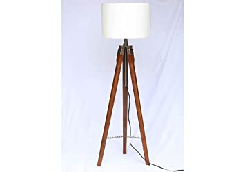 Wooden tripod floor lamp stand with shade and bulb amazon wooden tripod floor lamp stand with shade and bulb aloadofball Gallery