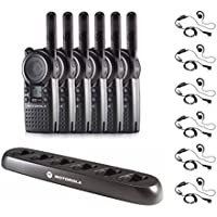 6 Pack of Motorola CLS1110 Radios with 6 Push To Talk (PTT) earpieces and a 6-Bank Radio Charger
