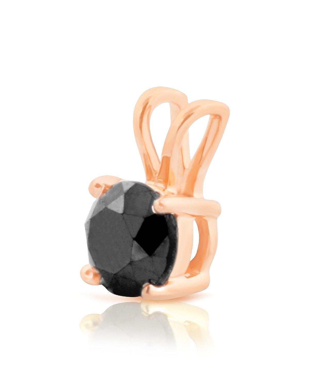 Prsim Jewel 1.00 Carat Round Brilliant Cut Prong Set Black Diamond Solitaire Pendant 10k Rose Gold