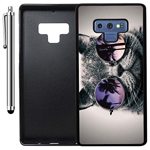 Custom Case Compatible with Galaxy Note 9 (Cali Cat Sunnies) Edge-to-Edge Rubber Black Cover Ultra Slim | Lightweight | Includes Stylus Pen by Innosub