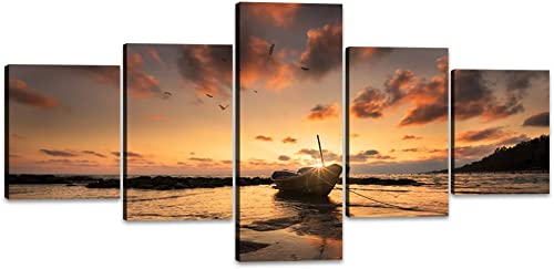 Yatsen Bridge 5 Panels Modern Beach Pictures Wall Art Fisherman Boat at The Beach During Sunset Canvas Prints Artwork Seascape Picture for Home Office Decor – 50 W x 24 H