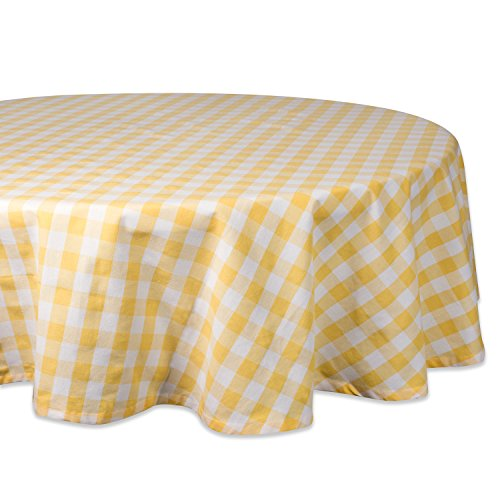 "DII 70"" Round Cotton Tablecloth, Yellow & White Check - Perfect for Spring, Summer, Farmhouse Décor, Picnics & Potlucks or Everyday Use"