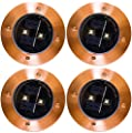 Solar Lights Outdoor Pathway Decorative Waterproof Garden Deck Light Upgraded Dual Warm White LED Brgiht 10 Lumen Decorations Uplight Sogrand Copper Step Lamp for Patio Outside Landscape Walkway 4Pack