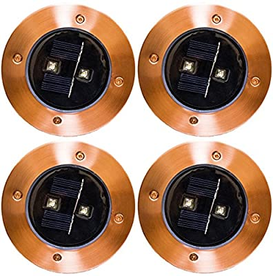 Solar Deck Lights Outdoor Pathway Step Uplight Decorative Garden Light Waterproof Upgraded Dual Warm White LED Brgiht 10 Lumen Decorations Sogrand Copper Lamp for Patio Outside Landscape Walkway 4Pack