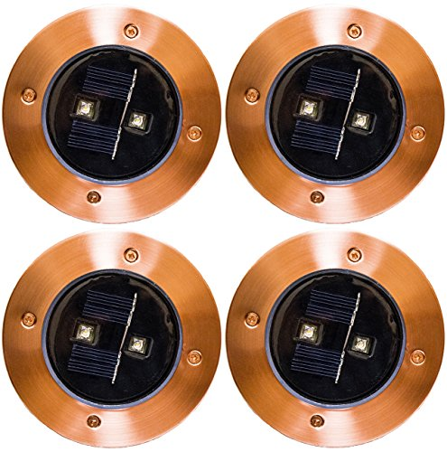 Solar Lights Outdoor Pathway Decorative Waterproof Garden Deck Light Upgraded Dual Warm White LED Brgiht 10 Lumen Decorations Uplight Sogrand Copper Step Lamp for Patio Outside Landscape Walkway 4Pack (Under Lighting Deck Patio)