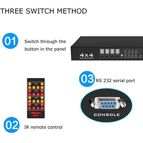 ES-Tune 4x4 HDMI Matrix Switch 2K X 4K HDMI Splitter Selector 4 in 4 out Support Panel/ IR Remote Control / RS232 switch by ES-Tune (Image #4)