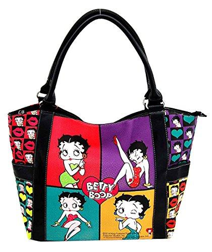 Betty Boop Large Tote Bag, Collage Handbag, Plus Keychain, (Betty Boop Large Tote)