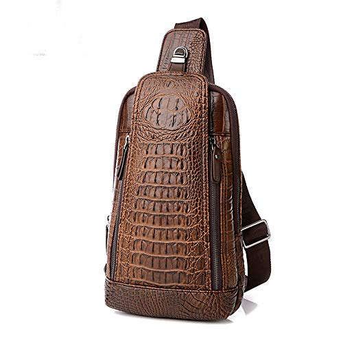(Men's Sing Bag,Leather Crocodile Pattern Cross Body Backpack Shoulder Bags Casual Chest Bag Travel Hiking)
