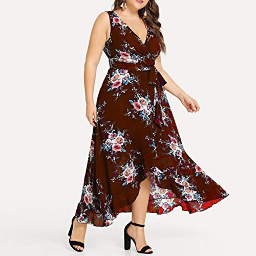 Yucode Women's Boho Plus Size Floral Printed V-Neck Sleeveless High Low Midi Dresses Summer Sundress with Belt Wine