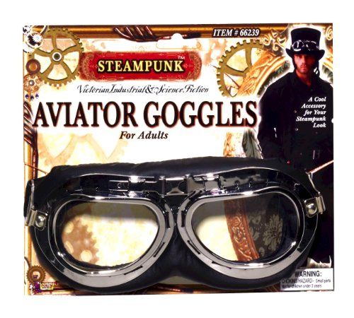 Forum Novelties Men's Steampunk Victorian Aviator Goggles, Black/Silver, One Size