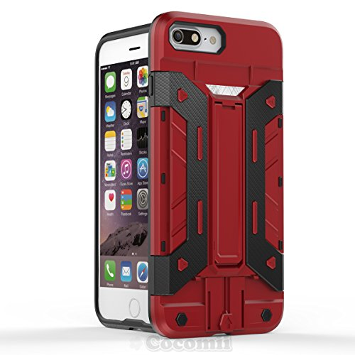 iPhone 8 Plus / 7 Plus Case, Cocomii Transformer Armor NEW [Heavy Duty] Premium Built-in Multi Card Holder Kickstand Shockproof Hard Bumper Shell [Military Defender] Full Body Dual Layer Rugged Cover Apple (Red)
