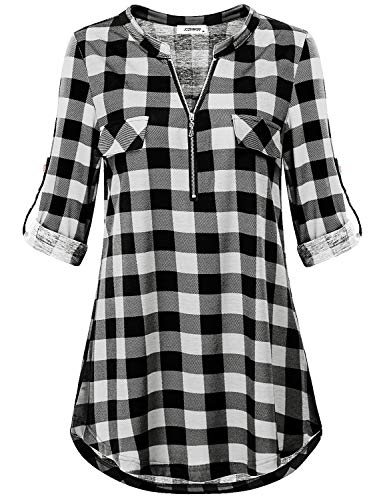 Tunics for Women to Wear with Leggings, Ladies Shirts Henley V Neck 3 4 Cuff Sleeve with Button Tab Business Casual Checkered Tunic Shirt Black White Plaid L