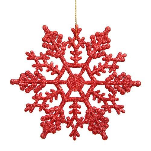 Vickerman Plastic Glitter Snowflake, 4-Inch, Red, 24 Per Box -